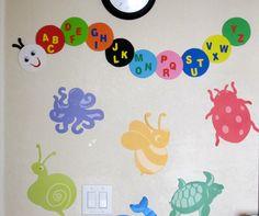 Alphabet Caterpillar.... http://daybydaycreation.blogspot.com/#!/2013/05/alphabet-caterpillar.html