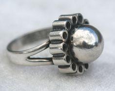 #shopjewelry > Erik Granit (FI), modernist flower like sterling silver ring, 1968. #Finland   finlandjewelry.com