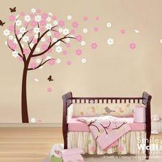 Blooming Cherry Tree and Butterflies - Nursery Vinyl Wall Decal | Smileywalls - Children's on ArtFire