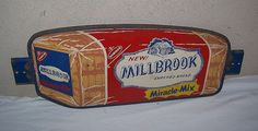 Millbrook Bread Vintage Door Push Sign  (Nabisco, Enriched Bread, Miracle Mix, 1950 Antique Metal Signs)
