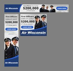 Banner Ads to share exciting new hire bonus info for Air Wisconsin Airlines Wisconsin, Banner, Animation, Ads, Learning, Banner Stands, Studying, Teaching, Animation Movies