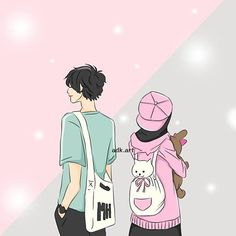 kumpulan anime kartun romantis anyar - my ely Muslim Family, Muslim Girls, Muslim Couples, Anime Love Couple, Couple Cartoon, Couple Art, Hijab Drawing, Islamic Cartoon, Hijab Cartoon