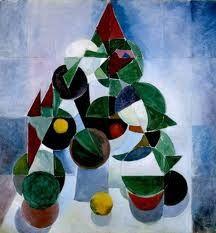 Driehoek compositie. Dit is een driehoeks compositie omdat  in het schilderij een driehoek wordt gevormd met de vormen.