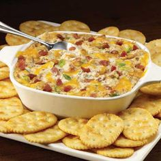 Creamy Bacon and Cheese Dip Might be what I'm looking for, but would definitely use fresh cooked bacon!