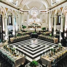The design of this repurposed cathedral is extraordinary on its own, but we love how the graphic #dancefloor offers an unexpected touch of modern edge! Instagram repost: nicolesyandco   WedLuxe Magazine   #wedding #luxury #weddinginspiration #eventdecor