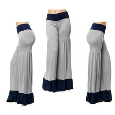 Flared bottom pants - grey Color block Flared bottom pants . Also available in other sizes and color . 95%polyester 5% spandex . Pants Boot Cut & Flare