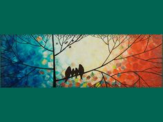 """colors. 36"""" Original Modern Abstract Heavy Texture Impasto Metallic Painting Landscape Tree Branches Wall Decor """"The Birds Family"""" by QIQIGALLERY. $185.00, via Etsy."""