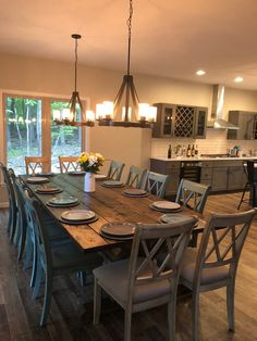 home Large Farmhouse Table Rustic Farm Table Farmhouse Dining Table Rustic Modern Table Natural Wood Farmhouse Dining Room Table, Dinning Room Tables, Dining Room Design, Rustic Table, 10 Person Dining Table, Farm Tables, Dark Wood Dining Table, Dinning Room Ideas, Rustic Dining Room Tables