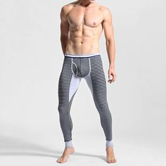 006b39deda Casual Cotton Stripe Printing Slim Tight Fitting Warm Leggings for Men is  warmest