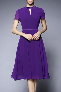 Purple Short Sleeve Chiffon Dress