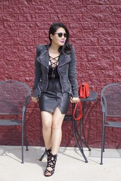 2016 petite spring fashion street casual cool girl style lookbook Store grey studded jacket + lookbook store black lace-up bodysuit + Banana Republic leather skirt + Aldo black cutoff lace-up heels+ Ray Ban sunglasses + Red Louis Vuitton bag