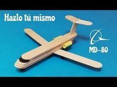 Como hacer un avion de pasajeros con palillos de helado - YouTube