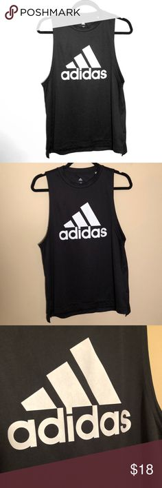 Adidas, Women's Medium Tank, Climite material, EUC Adidas Size Medium Climite (dry fit type material) Black with white emblem EUC- Worn once- it has TINY pick on the back and that is in the pictures- it's definitely not noticeable, otherwise in perfect condition Smoke and pet free home! adidas Tops Muscle Tees