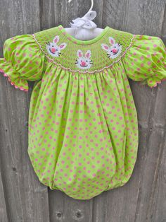 Green & Pink Polka Dot Smocked Bunny Bubble from Smocked Auctions