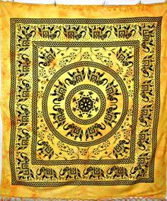 Elephant Mandala Tapestry Hippie Indian Tapestry by JaipurHandloom
