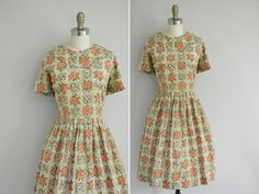 vintage 1950 dress / rare 50s Calligraphy by simplicityisbliss, $58.00