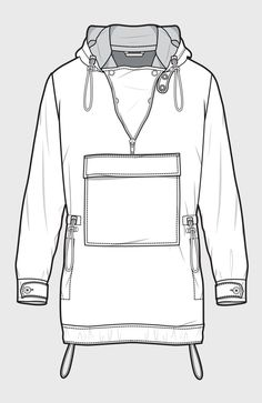 Anorak jacket with kangaroo pouch