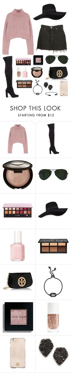 """""""florida tuesday ‼️"""" by lalalanie ❤ liked on Polyvore featuring Levi's, Steve Madden, Becca, Ray-Ban, Anastasia Beverly Hills, San Diego Hat Co., Kat Von D, Tory Burch, Kendra Scott and Bobbi Brown Cosmetics"""
