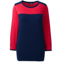 Lands' End Women's Petite Supima Cotton 3/4 Sleeve Colorblock Sweater ($69) ❤ liked on Polyvore featuring tops, sweaters, red, red top, cotton crew neck sweater, cotton crewneck sweater, 3/4 sleeve sweaters and color block sweater