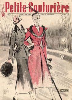 RARE REVUE  LA PETITE COUTURIERE   PATRONS TRICOTS ROBES TAILLEURS  N°85 - 1949