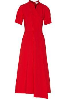 Victoria Beckham Asymmetric crepe midi dress | THE OUTNET