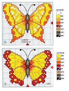 Butterfly Cross Stitch, Butterfly Pattern, Cross Stitch Flowers, Cat Cross Stitches, Cross Stitching, Cross Stitch Embroidery, Bead Loom Patterns, Beading Patterns, Cross Stitch Designs