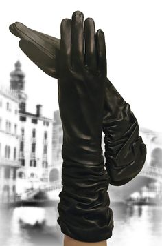 Sensuous Imported Italian Leather Gloves, gathered at the wrist.