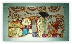 Klimt L'Abbraccio. Quadro dipinto su specchio. di Lartistadelvetro