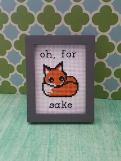 "Framed Cross Stitch Art- ""Oh, For Fox Sake"" - Funny Design - Subversive - Desk Piece - Swear Curse Word - Embroidery - Mini Art - Cute Fox by SweetLittleFox on Etsy"