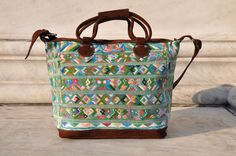 Gorgeous Guatemalan Huipil Weekender Bag, Handmade Weekender Bag, Gorgeous Light Green Color With Mayan Birds, Finished With Suede Leather