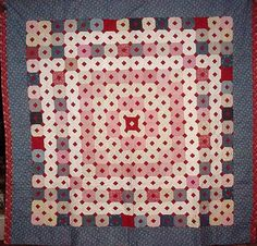 """'Chinese Puzzle"""" pattern pieced English quilt, reverses to a 'Bars' pattern using same materials as on the front. Huge, crisp and fresh quilt discovery"""