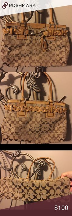 💯Authentic Coach satchel, Excellent condition Authentic, excellent, excellent condition! Coach signature C design brown satchel. Classy/stylish braided leather design with tassel. Zip top closure. Key attachment inside. Double pockets inside for phone. Large zippered inside pocket. Coach Bags Satchels