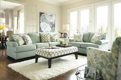 Shop Ashley Furniture Daystar Seafoam Living Room Set with great price, The Classy Home Furniture has the best selection of Living Room Sets to choose from 3 Piece Living Room Set, Living Room Sets, Home Living Room, Living Room Designs, Living Area, Small Living, Pier 1 Living Room Ideas, Coastal Living Rooms, Living Room Interior