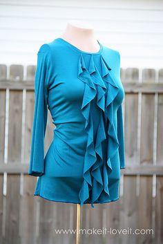 a little too complicated for my beginner sewing skills but I could add ruffles like that to one of my existing shirts
