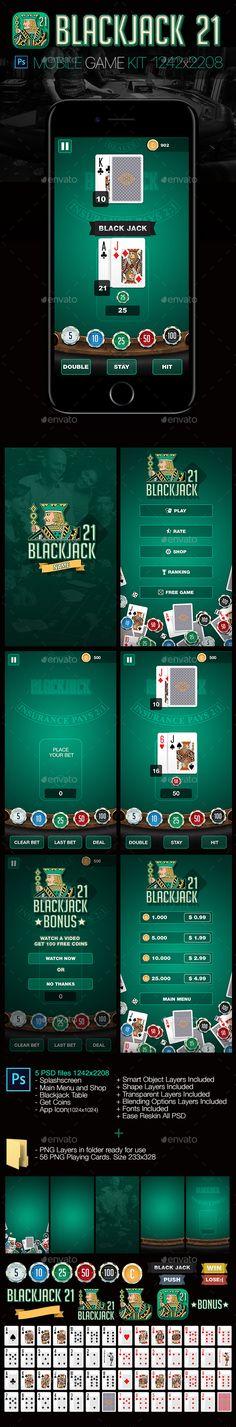 Blackjack 21 Game Kit - Game Kits Game Assets, android game, black jack, blackjack, cards games, casino, casino chips, casino game, chip, chips, game, iphone, iPhone 7, iphone game, mobile game. playing cards, mobile games, poker, slots, table games
