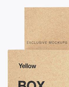 Kraft Paper Box with Hang Tab Mockup – Halfside View Close-Up