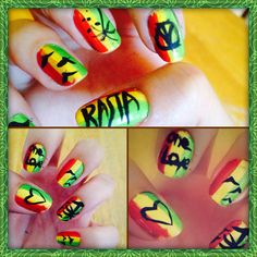Rasta nails , first time could be better. Will be fun to experiment different ways to do. #Nails Jamacian me crazy ;)