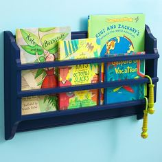 Kids' Shelves Kids Blue Wall Book Bin in Shelves & Wall Hooks | The Land of Nod  LOVE THESE!!! Put next to beds