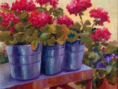 "Daily Paintworks - ""Geranium Glory"" - Original Fine Art for Sale - © Libby Anderson"