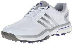 adidas Women's W Adipower Boost Golf Shoe, Running White/Silver Metallic/Flash Purple, 6 M US
