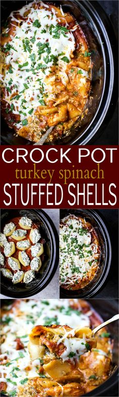 Crock Pot Turkey Spi Crock Pot Turkey Spinach Stuffed Shells stuffed shells haven't been easier. Jumbo Shells stuffed with ricotta spinach ground turkey and Italian herbs all made into one delicious cheesy meal your family will love! Healthy Slow Cooker, Crock Pot Slow Cooker, Crock Pot Cooking, Slow Cooker Recipes, Cooking Recipes, Crockpot Recipes, Turkey Crockpot, Cheesy Recipes, Easy Healthy Recipes