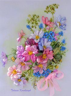 """Ricamo """" Kosmeya """" Silk ribbon embroidery, fiori di Le meravigle di nastro su DaWanda.com"""