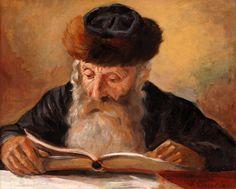 Jewish art, Rabbi in study.