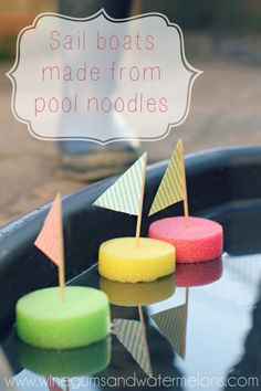 Easy sail boat kids craft from pool noodles! Put a mark on the bottom of the sail boat for a great summer kids game! Kids Crafts, Craft Activities For Kids, Summer Crafts, Summer Activities, Toddler Activities, Projects For Kids, Games For Kids, Diy For Kids, Boat Crafts
