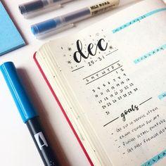 weekly bullet journal spread winter doodles