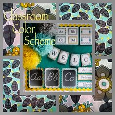 Yellow, Turquoise, and Gray Classroom Color Scheme