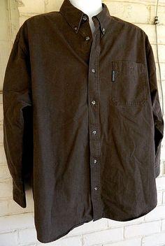 Men's Columbia Shirt Button Front Long Sleeve 100% Cotton Dark Brown XL #Columbia #ButtonFront