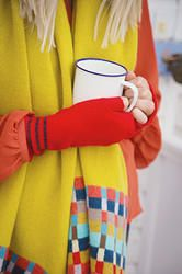 Red Knitted Lambswool Hand Warmers