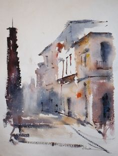 Watercolor City, Watercolor Sketch, Watercolor Artwork, Watercolor Paintings For Beginners, Watercolor Landscape Paintings, Landscape Art, Watercolor Architecture, Cottage Art, Urban Sketching