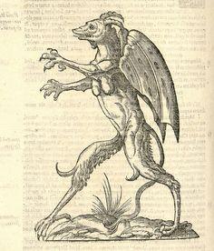 "Monstrum alatum, & cornutum instar Cacodaemonis ""Ulissi Aldrovandi (Aldrovandus) (1522-1605)   Woodcut illustrations from Aldrovandi's 'History of Monsters'"